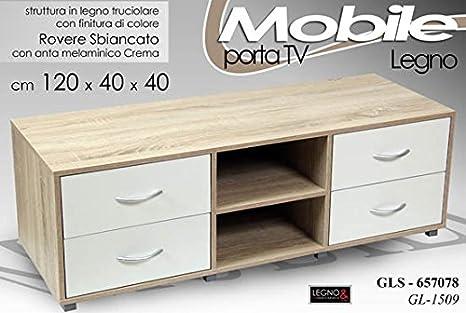 MOBILE CONSOLLE PORTA TV IN LEGNO COL. ROVERE SBIANCATO 120X40X40 CM ...