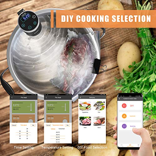 SUNAVO Sous Vide Cooker,WIFI Immersion Circulator Machine 1000W,Thermal Immersion Circulator with Accurate Temperature & Timer Setting,Digital Display Stainless Steel SV-20 by sunavo (Image #3)