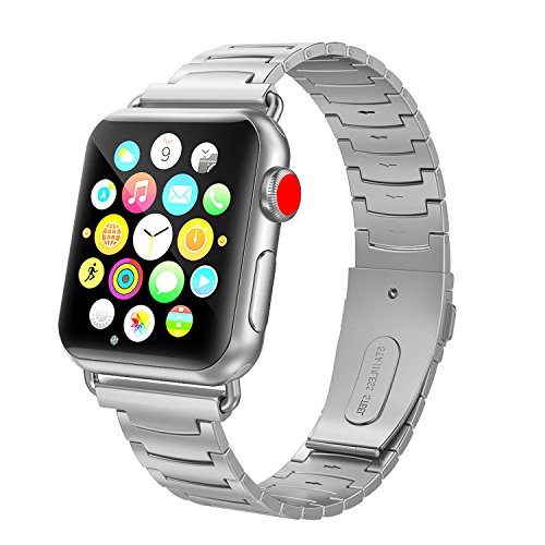 SWEES Stainless Steel Metal Bands Compatible Apple Watch Band 38mm, iWatch Small Super Slim Link Strap Compatible Apple Watch Series 3, Series 2, Series 1, Sports & Edition Women, Silver