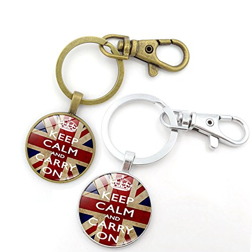 Key Chains Rings Keychains Keep Calm and Carry ON England Britain UK Flag Round Model Clip Hooks Men Women Retractable Decorations Loop Clasp 2 pcs【1797】 (1 Gold&1 Silver)