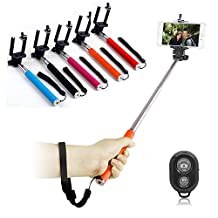 """FlyStone® Bluetooth Monopod Extendable selfie stick with remote suitable for iPhone, Samsung, HTC and other devices up to 3.25 inches in width - Fully adjustable handheld monopod 9"""" - 40"""" (black remote) Comes with microfiber cleaning cloth. (Orange)"""