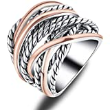 Mytys 2 Tone Gold Crossover Wide Band Ring Rose Gold Silver Intertwined Rings for Women Girls 20mm Size 6