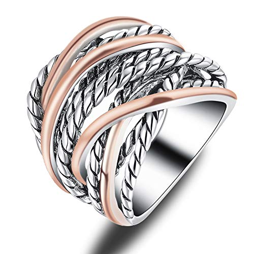 Tone Two Ring Rose (Mytys Silver Rose Gold Crossover Wide Wedding Band 2 Tone Rope Intertwined Statement Ring Size:7)