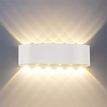 Modernas luces de pared LED IP65 a prueba de agua 12W Lámparas LED Aplique de aluminio Arriba hacia abajo Lámpara decorativa de luz nocturna para sala de estar Dormitorio Pasillo Escaleras: Amazon.es: