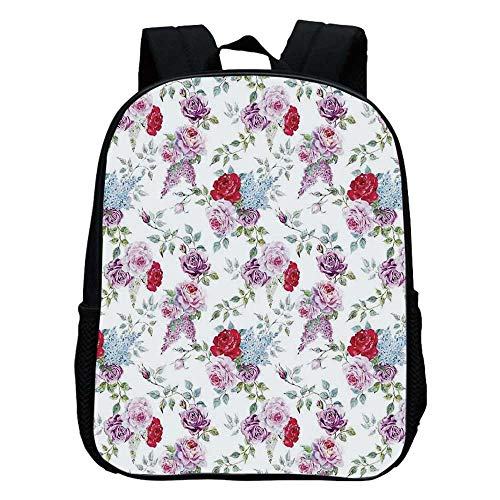 House Decor Durable Kindergarten Shoulder Bag,Roses Mimosa Lilac Peonies Bouquets Romantic Summertime Garden Nature For school,11.8
