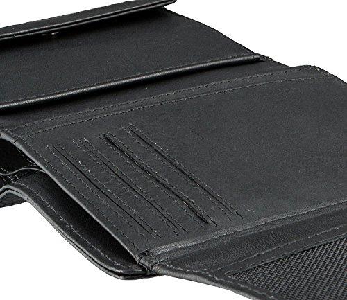 Pregio monedero Bugatti con solapa, 13 cm, negro