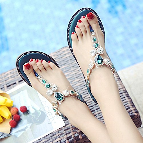 Cybling Correa En T Para Mujer Tanga De Tiras Elásticas Sandalias Planas Sandalias Planas Zapatos Verdes