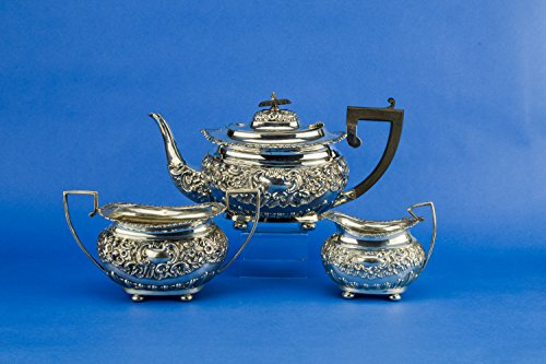 Piece Sterling Tea Service (3 Piece Antique Sterling Silver TEA SET Floral Scrolls George Nathan & Ridley Hayes Unique Opulent English 1904)