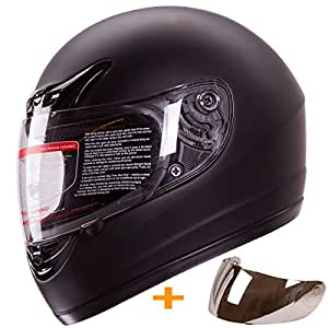 Matte Flat Black Full Face Motorcycle Helmet DOT +2 Visors Comes with Clear Shield and Free Mirror Chrome Shield (L)