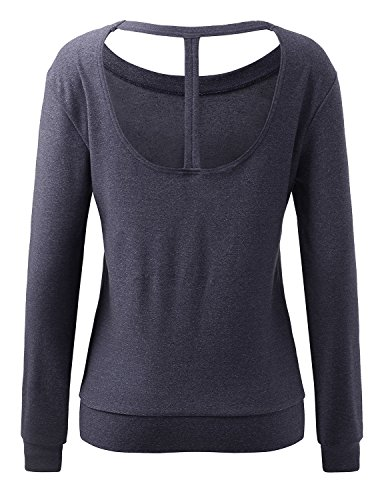 REGNA X NO BOTHER Women's Long sleeve Boat neck Active Women's Open Back Yoga Top, X-Large Plus, Navy