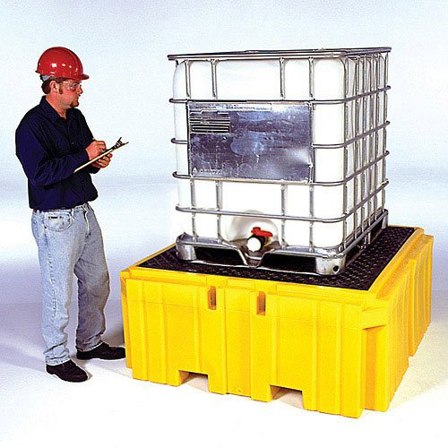 UltraTech 1158 Polyethylene Ultra-IBC Spill Pallet Plus with Drain, 8500 lbs Capacity, 5 Year Warranty, Yellow