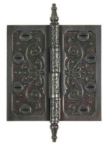 Dark Bronze Finish Brass Elegans LF002DBZ Solid Brass Lafayette Design 4-Inch Decorative Door Hinge with Brass Screws