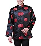 XueXian(TM) Men's Long Sleeve Chinese Style Qipao New Year Outfit Tang Suit (China L:Bust 44.09'',Black)