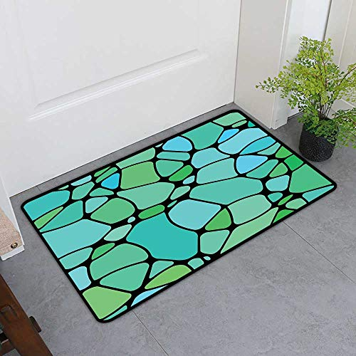 TableCovers&Home Commercial Door Mat, Seafoam Decorative Rugs for Kitchen, Mosaic Geometric Pattern Vintage Inspirations Abstract Composition (Lime Green Seafoam Blue, H20 x W32) ()