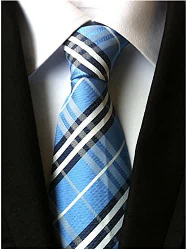 Allbebe Men's Classic Checks Blue Black Jacquard Woven Silk Tie Necktie