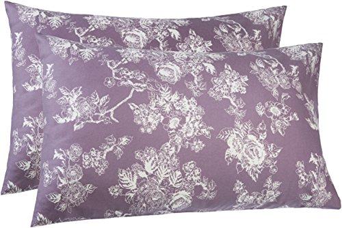 (Pinzon 170 Gram Flannel Cotton Pillowcases, Set of 2, Standard, Floral Lavender)