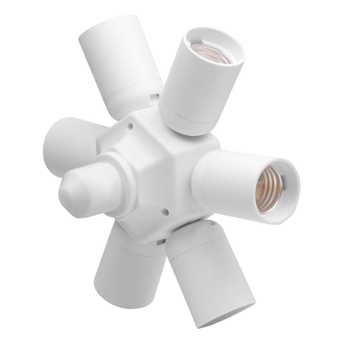 8T8 Level LED Light Socket Adapter Splitter, Lamp Holder Converter for Standard E26 E27 Bulbs Home Commercial Lighting (Flat_7)