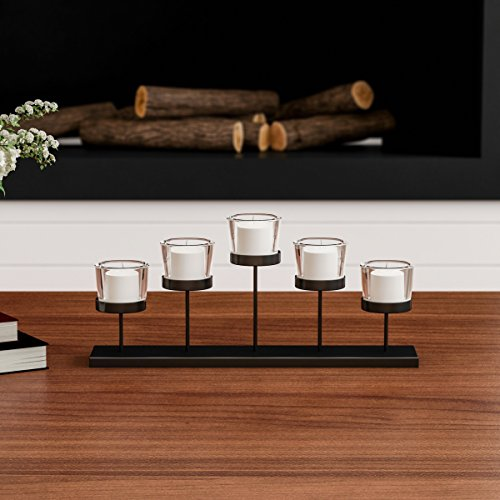 Home Tiered Votive Candle Holder-Handcrafted Iron and Glass Cup Centerpiece for 5 Tealights Decor, Wedding, Event by Lavish (Matte Black) (Floral Candelabra Shade Sets)