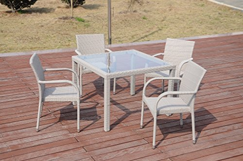 5-Pc-Patio-Resin-Outdoor-Wicker-Dining-Set-Square-Table-wGlass4-Arm-Chair-Gray-Color