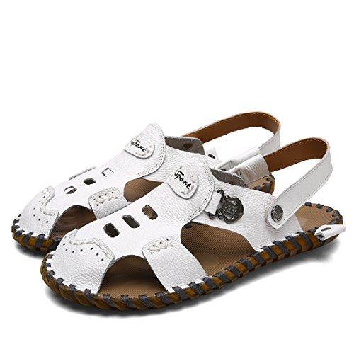 Tda Pojkar Mens Mode Andas Läder Strand Sommar Utomhus Tofflor Fiskare Sandaler Vita