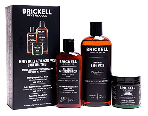Brickell Mens Daily Advanced Face Care Routine I - Gel Facial Cleanser Wash + Face Scrub + Face Moisturizer Lotion - Natural & Organic