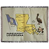 Shreveport, Louisiana - Detailed Map of State (60x80 Woven Chenille Yarn Blanket)
