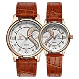 Franterd Tiannbu Romantic Ultrathin Leather Fashion Couple Wrist Watches 1 Pair/2pc
