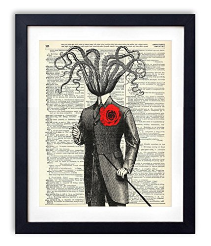 Victorian Gentleman Octopus Upcycled Vintage Dictionary Art