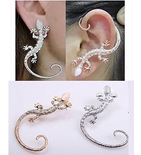 Korea exaggerated three-dimensional animal offbeat personality opal earrings ear hook gecko earrings earrings long section of women girls ()