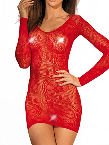 - Women's Sleeved Seamless Floral Lace Net Mini Chemise Dress Lingerie (Red)