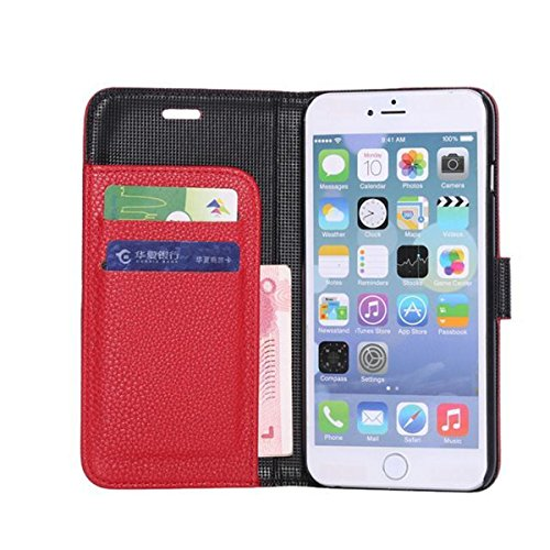 iPhone 6 Hülle,Apple iPhone 6 Hülle (5.5 Zoll) Lifetrut®[Litchi Rote] Flip Case mit lebenslanger Garantie + Kartenfächern & Standfunktion