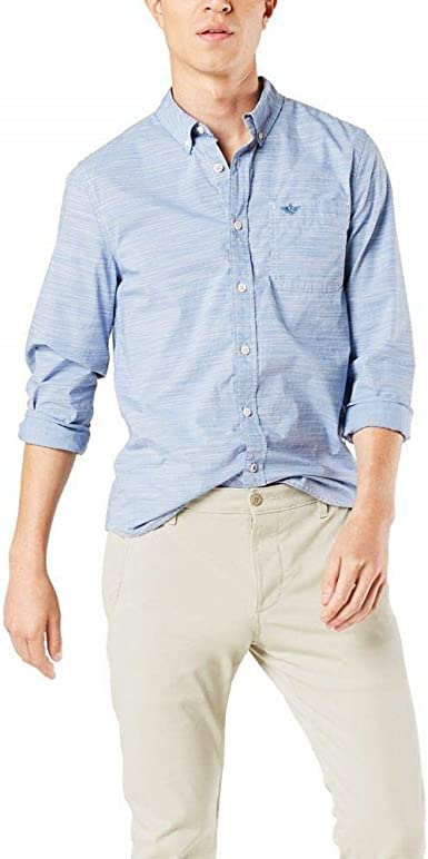 Dockers Mens Supreme Flex Alpha Icon Woven Shirt Button Down Shirt
