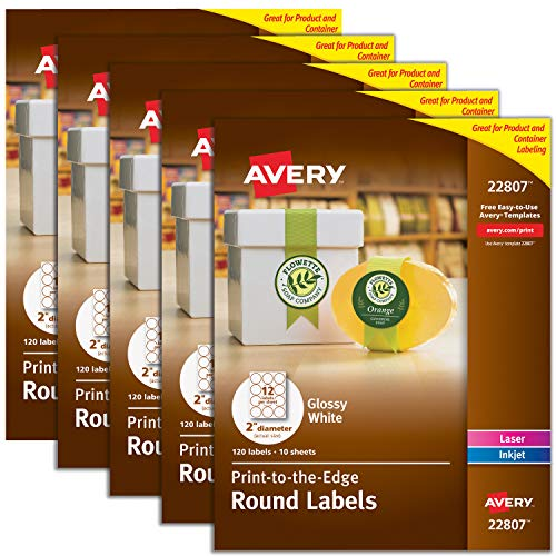 Avery 2 Round Labels for Laser & Inkjet Printers, 600 Glossy White Labels Total, 5 Packs (22807)
