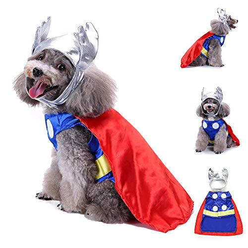 Cywulin Marvel Universe Thor Pet Costume Halloween Dog Shirt Clothes Sweatshirt Puppy Festivals Apparel Clothing (Multicolor, Medium) -
