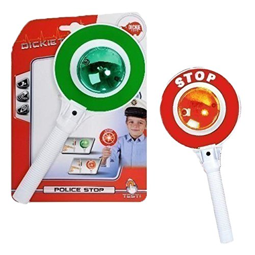 Dickie Toys Police Crossing Guard Stop Red Green Light Pretend ()