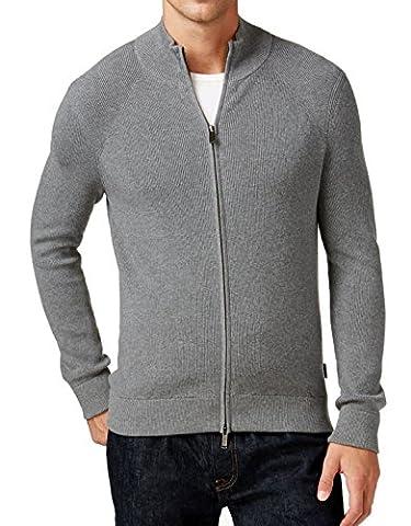 Michael Kors Mens Small Ribbed Full Zip Sweater Gray S - Michael Kors Zip Cardigan