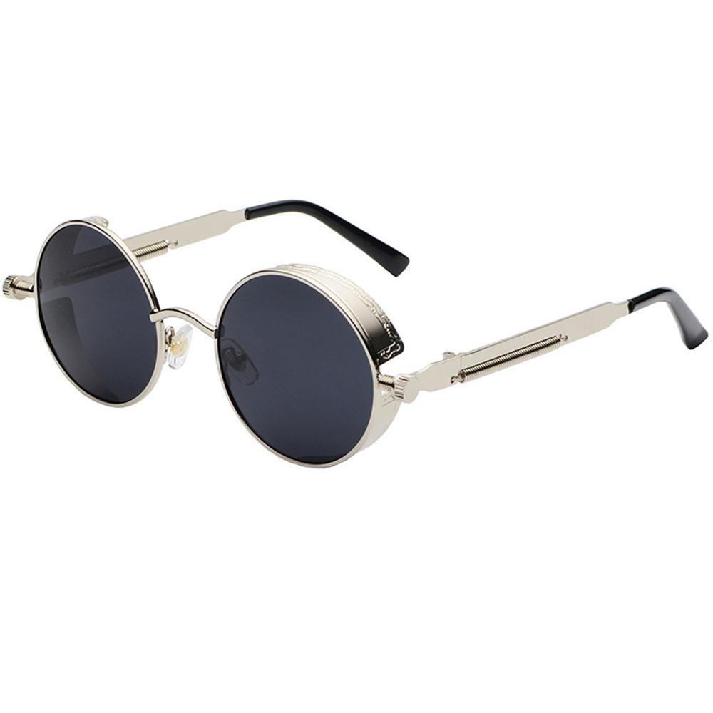 Aoligei Dampf-Alter Punk Sonnenbrille Europäische und amerikanische Persönlichkeit Frame Circular Polfilter ANTI-UV hLeK3