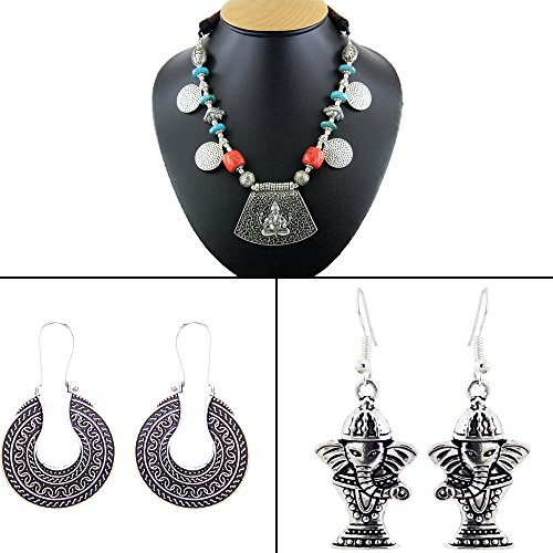 Ganesh Earrings (101Jewels Ganesh Temple Necklace Set with 2 Matching Earrings)