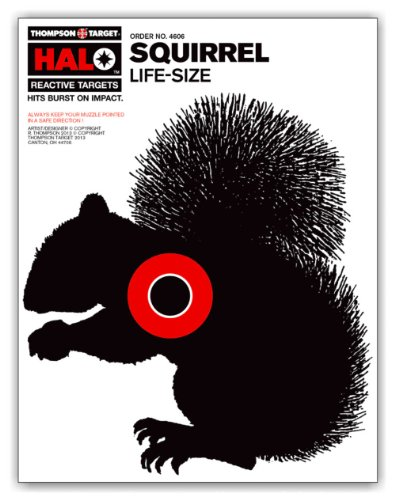 Halo Life Size Squirrel - Reactive Splatter Gun Hunting Shooting Targets 8.5 x 11 Inches (20 pack)