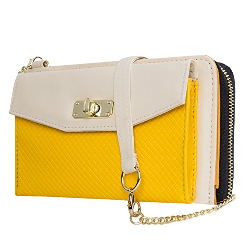 Envelope Clutch Cream/Yellow for HTC Phones by Vangoddy (Image #1)