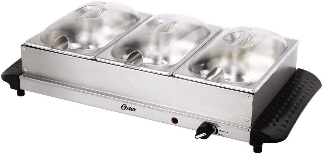 Oster CKSTBSTW02 3 x 1-1/2-Quart Mini Triple Buffet Server and Warming Tray, Stainless Steel
