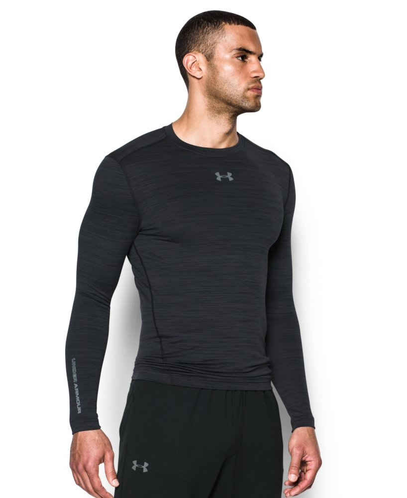Under Armour Men's ColdGear Armour Twist Compression Crew, Black/Steel, Medium by Under Armour (Image #3)