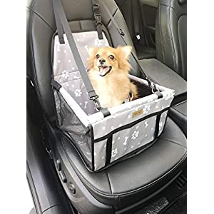 FANCYDELI Dog Car Seat Upgrade Deluxe Portable Pet Dog Booster Car Seat with Clip-On Safety Leash and Double-Side Mat,Perfect for Small Pets Grey 55