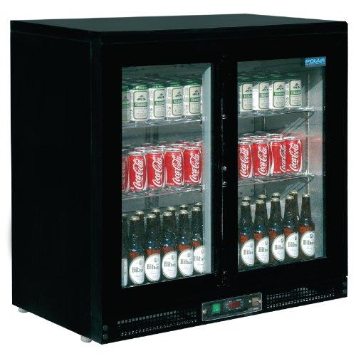 Frigo à bar / Arrière-bar 168bouteilles Polar Double porte coulissante. Capacité : 168 bouteilles de 330ml.