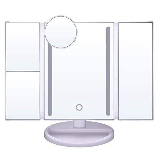 LEPO LED Makeup Mirror, Vanity Makeup Mirror with 1X/2X/3X/10X Magnification, Cosmetic Mirror with 24 LED Lights, 180 Degree Adjustable Rotation(White)
