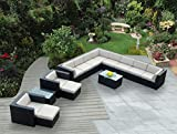Ohana 14-Piece Outdoor Patio Furniture Sectional Conversation Set, Black Wicker with Beige Cushions – No Assembly with Free Patio Cover Review