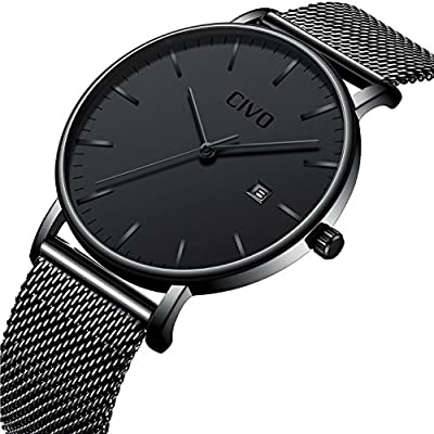 CIVO Mens Black Watches Ultra Thin Minimalist Fashion Casual Business Luxury Date Calendar Waterproof Analogue Quartz Wrist Watch for Men with Stainless Steel Mesh Band