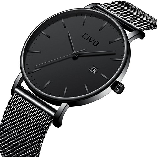 CIVO Mens Watches Ultra Thin Minimalist Fashion Casual Business Luxury Date Calendar Waterproof Analogue Quartz Wrist Watch for Men with Stainless Steel Mesh Band Black - In What Glasses Men For Style Are