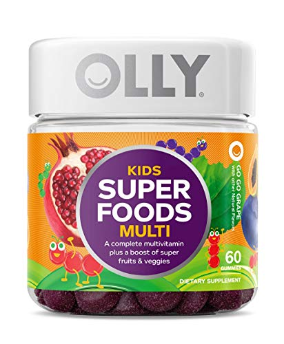 OLLY Kids Super Foods Gummy Multivitamin, 30 Day Supply (60 Count), Go Go Grape, Gummy Supplement, 10 Super Foods, Elderberry, Acai, Tamarind, Chewable Supplement