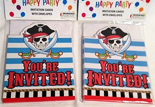 (Happy Party Pirate Invitations 8 Count (Pack of 2 - For 16 guests))